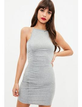 grey-strappy-high-neck-ruched-mini-dress by missguided