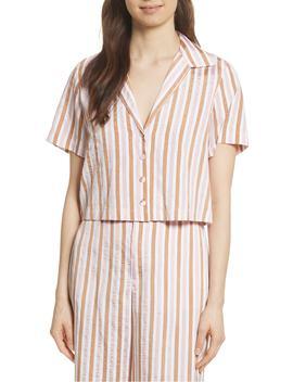 stripe-mini-crop-shirt by frame