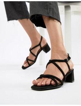 bershka-strappy-block-heel-sandal-in-black by bershka
