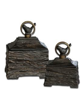 Uttermost Birdie Metallic Grey Boxes (Set Of 2) by Uttermost