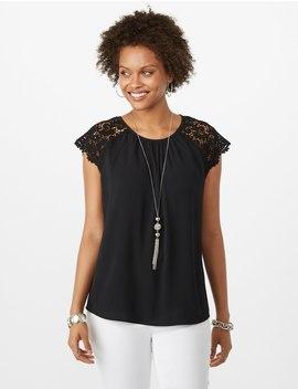 crochet-shoulder-crepe-blouse by dressbarn