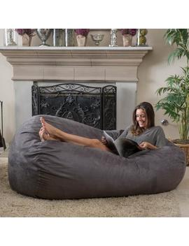 Haley Charcoal Grey 6 Ft Faux Suede Microfiber Bean Bag by Gdf Studio
