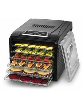 gourmia-gfd1950-electric-food-dehydrator-machine---digital-timer-and-temperature-control---9-drying-trays--perfect-for-beef-jerky,-herbs,-fruit-leather--bpa-free--600w---black---bonus-cookbook by gourmia