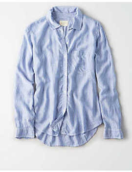 ae-classic-striped-button-up-shirt by american-eagle-outfitters