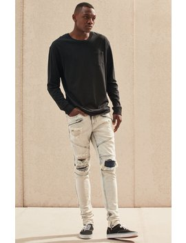 stacked-skinny-moto-zip-acid-wash-jeans by pacsun