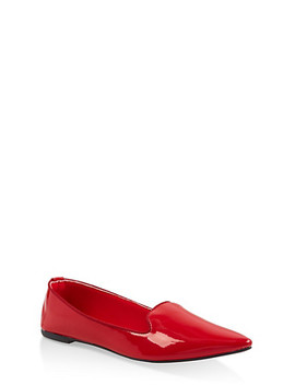 pointed-toe-faux-patent-leather-flats by rainbow