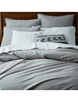 Organic Washed Cotton Duvet Cover + Shams   Platinum by West Elm