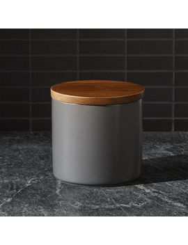 Silo Steel Grey 32 Oz. Wood Lid Canister Steel by Crate&Barrel
