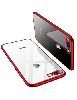 torras-iphone-8-plus-case,-iphone-7-plus-case,-crystal-clear-soft-cover-case-with-electroplated-frame-ultra-slim-tpu-gel-case-for-apple-iphone-7-plus_8-plus,-clear-back&red-frame by torras