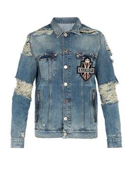distressed-crystal-embellished-denim-jacket by balmain