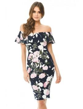 Navy Printed Floral Bardot Midi Dress by Ax Paris