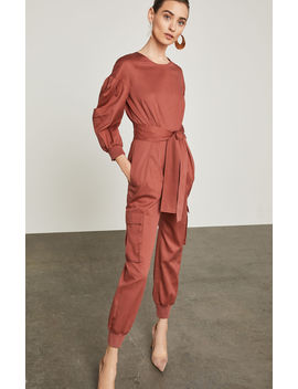 Pleated Cotton Jumpsuit by Bcbgmaxazria