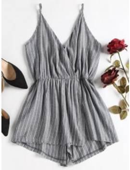 striped-overlap-romper---dark-gray-s by zaful