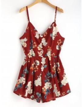 floral-print-cami-buttoned-playsuit---red-wine-s by zaful