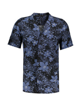 Black & Blue Floral Shirt by Friend Or Faux
