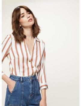 striped-asymmetric-button-shirt by miss-selfridge