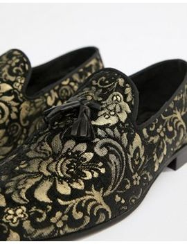 river-island-leather-loafers-with-gold-embroidery-in-black by river-island