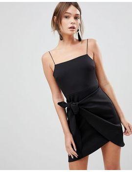 asos-wrap-front-bow-scuba-mini-dress by asos-design