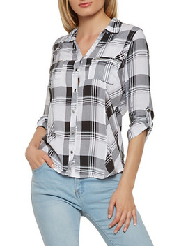 plaid-button-front-shirt by rainbow