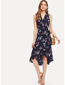 botanical-print-high-low-wrap-dress by shein