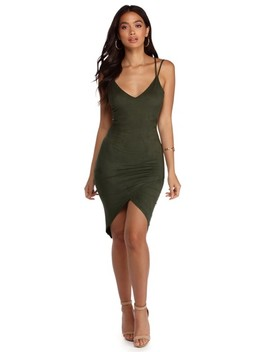 Sophisticated In Suede Asymmetrical Dress by Windsor
