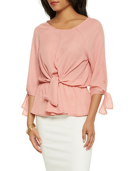 tie-front-peplum-blouse by rainbow