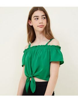 girls-green-tie-front-cold-shoulder-top by new-look