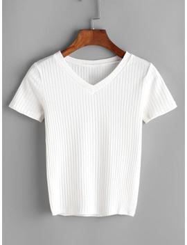 off-white-v-cut-ribbed-tshirt by shein