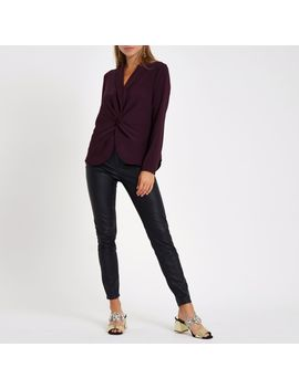 dark-red-v-neck-twist-front-blouse by river-island