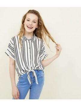 girls-white-stripe-tie-front-shirt by new-look