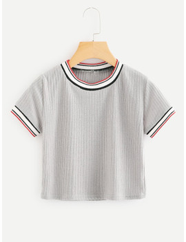striped-tape-panel-knit-tee by shein