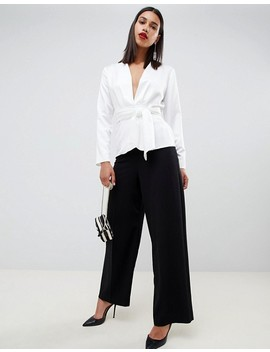 asos-design-satin-wrap-top-with-tie-waist-detail by asos-design