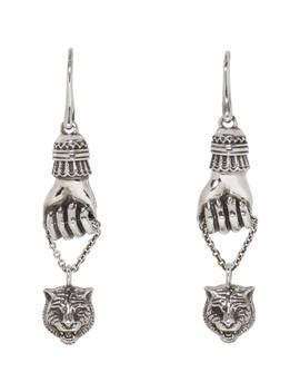 silver-feline-pendant-earrings by gucci