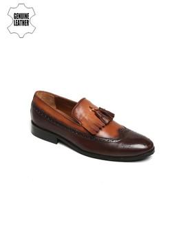 brune-men-brown-&-tan-colourblocked-leather-semiformal-slip-ons by brune