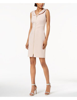 petite-portrait-collar-scuba-sheath-dress by calvin-klein