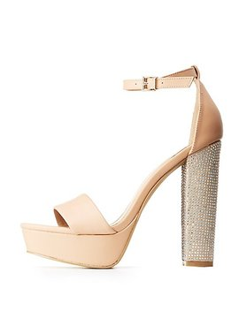 Crystal Block Heel Sandals by Charlotte Russe