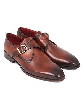 de-scalzo-brown-leather-single-monk-strap-shoes-for-men by de-scalzo