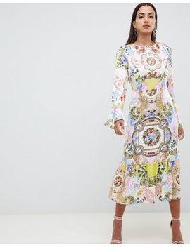 asos-design-maxi-dress-with-pephem-in-scarf-print by asos-design