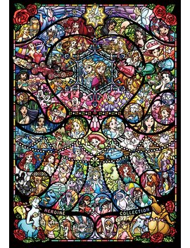 tenyo-dp-1000-028-disney-&-pixar-heroine-stained-art-pure-white-jigsaw-puzzle-(1000-pieces) by tenyo