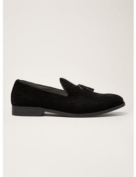 black-faux-suede-rana-quilted-loafers by topman