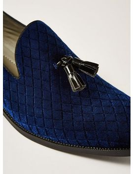 navy-faux-suede-rana-quilted-loafers by topman