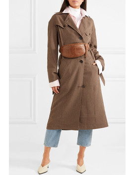 gingham-woven-trench-coat by nanushka