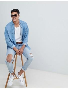 asos-design-–-oversize-jeanshemd-mit-zwei-taschen by asos-design