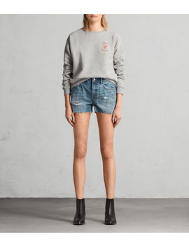 serene-embroidered-denim-shorts by allsaints
