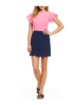 solid-cloister-ruffle-cap-sleeve-top by generic