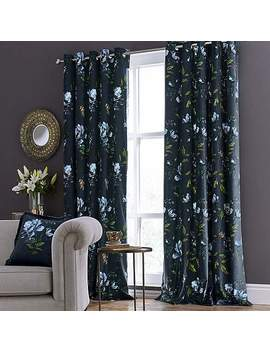 charm-floral-midnight-blue-eyelet-curtains by dunelm