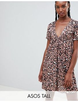 asos-design-tall-ultimate-cotton-smock-dress-in-leopard-print by asos-design
