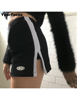 2018-classic-retro-old-school-unif-style-black-culottes-side-stripes-split-the-fork-letters-print-high-waist-skirt-women by yourfocus