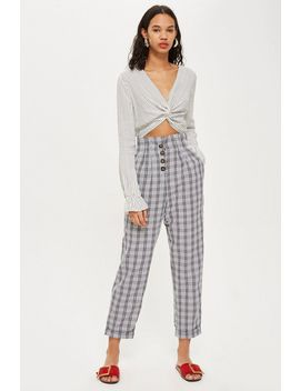 petite-check-button-peg-trousers by topshop