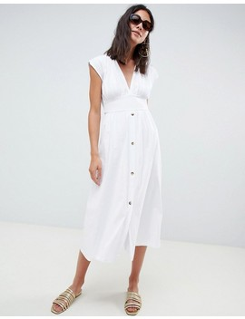 asos-design-tall-midi-dress-with-belt-and-tortoiseshell-buttons by asos-design